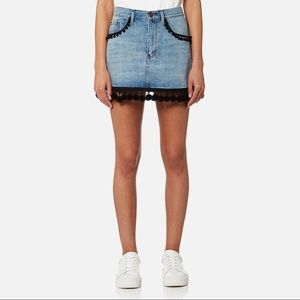 MARC JACOBS VINTAGE INDIGO DENIM SKIRT W/POM POMS